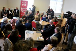 Jeremy Corbyn at today's meeting in Leyland