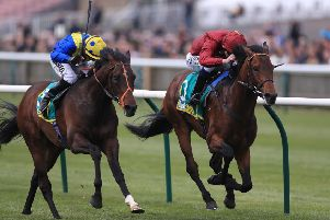 Kick On (right) ridden by Oisin Murphy beats Walkinthesand to win the bet365 Feilden Stakes during day one of the bet365 Craven Meeting at Newmarket.