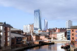 The Lumiere skyscrapers superimposed onto the Leeds skyline