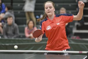 Bethany Ellis at the Table Tennis England Under 12 National Championships in Blackpool.