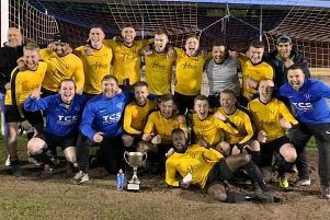 Mirfield Town celebrate winning the Heavy Woollen Challenge Cup last Wednesday.