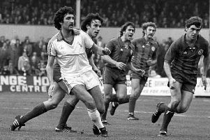 Sean Haslegrave in the classic all-white 'Adidas' kit against Crsytal Palace in 1979