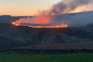 The fire on Ilkley Moor in Yorkshire. Picture courtesy of Tyne and Wear Fire and Rescue Service.