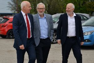 Jerry Hague, Labour's Parliamentary candidate for Sherwood, Jeremy Corbyn and shadow transport minister Andy McDonald