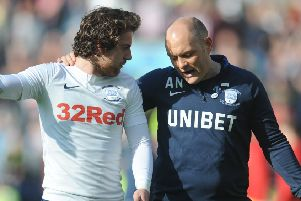 Preston midfielder Ben Pearson with Lilywhites manager Alex Neil