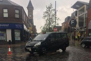A black cab is the latest vehicle to crash into the Fishergate bollard (Friday, April 26) Pic - @BlueMerleBill