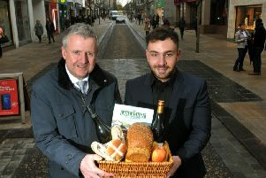 Andrew Stringer (left) and Jonathan Holton from BID advertising the new monthly market on Fishergate.