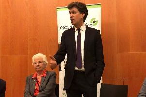 Ed Miliband addresses the audience at Cast in Doncaster
