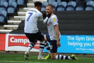 Jayden Stockley is congratulated by Callum Robinson after giving PNE the lead after Sheffield Wednesday
