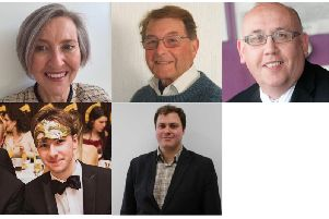 Top (l-r): Anna SNELL (The Conservative Party Candidate), Erland POLDEN (UKIP), Len LAUCHLAN (Labour Party)'Bottom (l-r): Maciej Aleksander ZAGDAN (Liberal Democrat), Michal HANTKOWSKI (Green Party candidate)