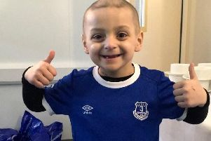 Bradley Lowery wears the colours of his second-best team Everton. Picture: Bradley Lowery Foundation.