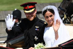 Britain's Prince Harry, Duke of Sussex and his wife Meghan, Duchess of Sussex