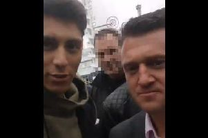 Bailey (left), confronted Robinson (right), during a rally in Blackpool on Monday.