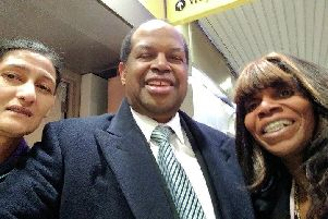 Glenda Andrew (left) and Sekeena Kydd with one of tomorrow's speakers, Anthony Brown of the Windrush Crusade.