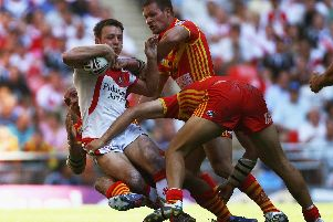 James Roby in action against Catalans Dragons in the first cup final at new Wembley in 2007