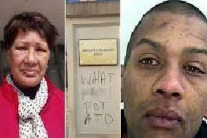 Concerned mum Diana Edghill, left, the graffiti, centre and Gavin Edghill, right