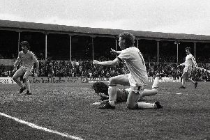 Preston striker Alex Bruce scores against Port Valeat Deepdale  in April 1976