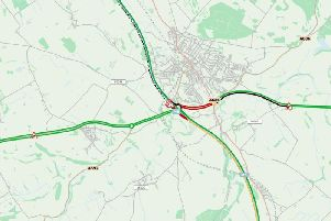 A map showing the M6 closure.
