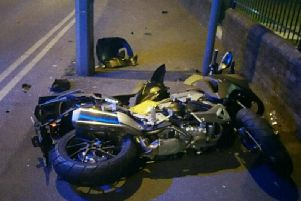 Police have launched an appeal for information after the rider of the bike was injured in a collision in Morecambe