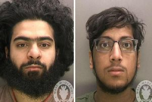 Safwaan Mansur (left) and Hanzalah Patel, who have been jailed at Birmingham Crown Court after they were convicted of preparing for terrorist acts in support of the so-called Islamic State after they attempted to travel to Syria.
