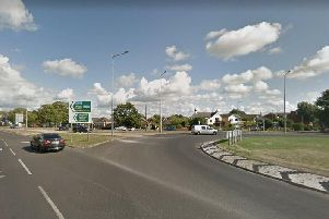 The Skippool roundabout, the point at which the western end of the proposed bypass will meet the existing road network - the roundabout will be converted to a traffic light-controlled junction