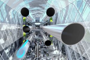An artist's impression of the Hyperloop transport system being developed by the Northern Arc project