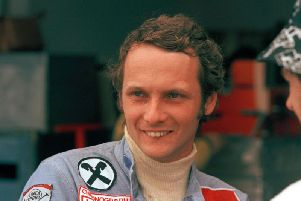 Austrian auto racer Niki Lauda, pictured in 1975 during the Argentine Grand Prix in Buenos Aires. Three-time Formula One world champion Niki Lauda has died at the age of 70. (AP Photo/E. Di Baia)