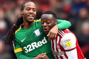 PNE's Daniel Johnson with Brentford's Moses Odubajo in the final game of the season (photo: Getty Images)