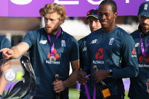 IN AND OUT: David Willey and Jofra Archer, pictured following the fifth ODI between England and Pakistan at Headingley on Sunday. Picture: Alex Davidson/Getty Images.