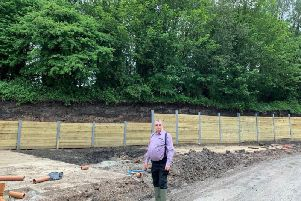 Melvyn Gardner near the excavated embankment