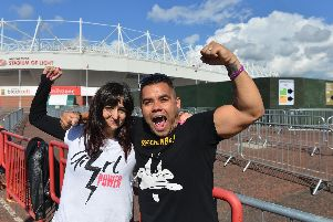 First fans Lorena Juan Pinazo and Ramon Rodricuez Garcia from Spain prepare for the Spice Girls concert at the Stadium of Light in Sunderland.