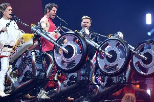 Take That rehearse for their show at FlyDSA Arena, Sheffield, earlier this year. Photo by Dave J Hogan.