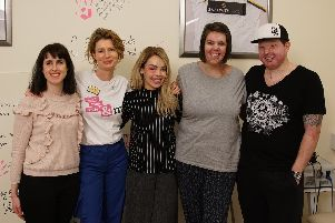 Katie Piper with patients at the rehab centre