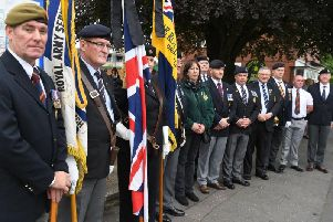 Veterans from British Armed Forces formed a guard of honour as Connie Sharples' coffin arrived at St Aidan's Church in Station Road, Bamber Bridge on June 7