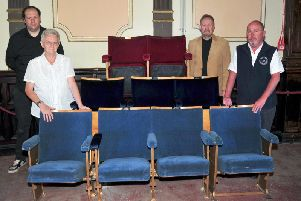 From left, Kieron Lowler, Winter Gardens Committee member, Susan Lomax, Winter Gardens Trustee, Stephen Jones, Chair of Friends of the Winter Gardens and John O'Neill Morecambe BID manager with the new seats for the Winter Gardens, Morecambe