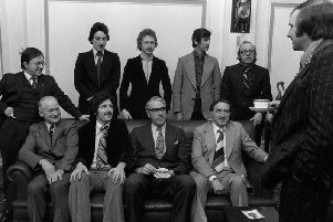 PNE players, coaching staff and board meet Harold Parker, Mayor of Preston, in the build-up to the game against Chester in February 1977. Back row: Chris Hassell (club secretary), Mike Elwiss, Alex Bruce, Alan Kelly (coach), Nobby Stiles (chief coach). Front row: Tom Finney, John McMahon, Alan Jones (chairman), Harry Catterick (manager)