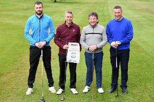 Former PNE players Andrew Lonergan, Graeme Atkinson, Peter Sayer and Ian Bryson at Shaw Hill Golf Club