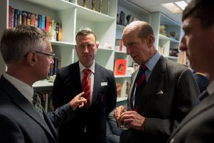 Mark Haig, advisor to FirstLight Trust on activities and wellbeing, Steven Hollis, Liverpool Football Club Foundation Veteran Lead, His Royal Highness the Duke of Kent and Gary Parish, FirstLight Trust support co-ordinator and veteran. Photo by  Nicholas Unsworth.