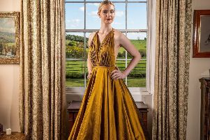 Bespoke full circle halterneck gown in rich Goldrod Dupionne silk with cowl back of Citrine jewelled mesh, guide price �700 plus back jewellery'. ''By Jillian Welch Design in Harrogate. Picture: Charlotte Graham''Pictures for the Great Yorkshire Show