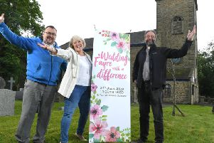 Revd John Griffiths with Shirley Rawlinson and David Brewin at St Thomas' Church, Garstang