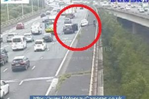 A motorway camera image of the blocked lane.