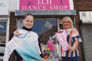 Amanda Hellman and her daughter Leonie, 11, outside the LCH Dance Shop