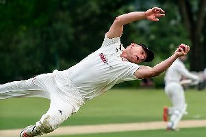 Garstang's Dan Curwen takes an acrobatic catch in their weekend win'Picture: Tim Gilbert/Preston Photographic Society
