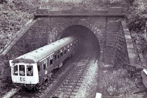 A train passes through the Totley Tunnel (Grindleford end) in October 1973.
