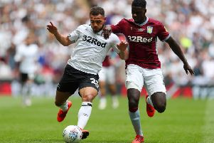 Mason Bennett in action for Derby during their play-offs final against Aston Villa at Wembley. (PHOTO BY: Catherine Ivill/Getty Images)