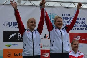 Georgia Hannam (left) on the podium.