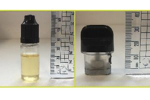 Vaping liquid which has been sold in a 10ml bottle (left) and in a cartridge that fits a vape pen which contains the designer drug Spice