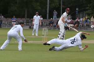 Northamptonshire's Rob Koegh is brilliantly caught at second slip by Leus du Plooy off the bowling of Luis Reece. (PHOTO BY: Eric Gregory)