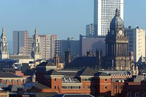 10 January 2013......      Leeds Civic Hall and Leeds Town Hall in the city centre skyline