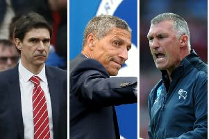 WHO NES? Airot Karanka, left, Chris Hughton and Nigel pearson are among the front-runners to repalce Steve Bruce at Sheffield Wednesday.